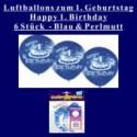 Luftballons, Latexballons, 1. Geburtstag / Blau & Perlmutt