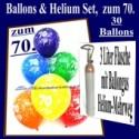 Zum 70. Geburtstag, 30 Luftballons mit Helium / inkl. Rückporto