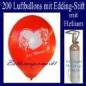 Just Married Luftballons, Glückwünsche - Namen eintragen, 200 Luftballons mit Heliumflasche