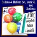 Zum 50. Geburtstag, 100 Luftballons mit Helium / inkl. Versand und Abholung