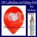Just Married / Glückwünsche - Namen eintragen, 100 Luftballons mit Heliumflasche
