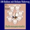 100 Luftballons aus Folie, Silberhochzeit, mit dem Helium-Mehrweg-Behälter