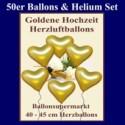Herzluftballons mit Helium in Gold, Maxi-Set zur Goldenen Hochzeit, 50 Ballons und Ballongasflasche