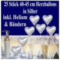 Herzluftballons mit Helium in Silber, Maxi-Set zur Silbernen Hochzeit, 25 Ballons und Ballongasflasche