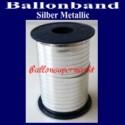 Ballonband, Luftballonbänder 1 Rolle 400 m, Silber Metallic