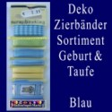Deko-Zierbänder-Sortiment, Geburt und Taufe, Blau