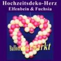 Dekoration zur Hochzeit, Herzdekoration aus Luftballons in Elfenbein-Fuchsia, 65 cm