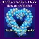 Dekoration zur Hochzeit, Herzdekoration aus Luftballons mit Hochzeitsschleifen, 65 cm
