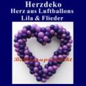 Dekoration zur Hochzeit, Herzdekoration aus Luftballons in Lila und Flieder