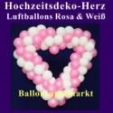 Dekoration zur Hochzeit, Herzdekoration aus Luftballons in Rosa-Weiß, 65 cm