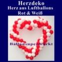 Dekoration zur Hochzeit, Herzdekoration aus Luftballons in Rot-Weiß