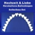 Hochzeit Ballonbogen Weiße Herzballons, inkl. Ballongas-Einweg