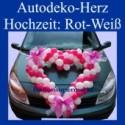 Autodeko Hochzeit, Dekoration Herzen aus Mini-Luftballons in Rot-Weiß