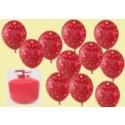 Helium- Einwegbehälter mit 50 Luftballons I Love You