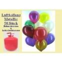 Helium- Einwegbehälter mit 50 Luftballons Metallic