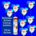 Helium-Einweg-Behälter mit 9 Weihnachtsballons Nikolaus, blau