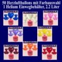 Helium Einwegbehälter mit 50 Herzluftballons, Farbauswahl