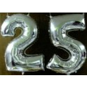 """Silberne Hochzeit Folienballon-Deko """"25"""" inkl. Ballongas"""