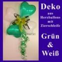 Herzluftballons-Dekoration mit Ringelband und Zierschleife, Grün-Weiß