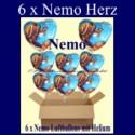 Nemo Clownfisch Herzluftballons mit Helium, Kindergeburtstag Geschenke, 6 Stück