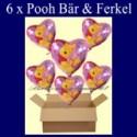 Pooh Bär mit Ferkel Luftballons mit Helium, Kindergeburtstag Geschenke, 6 Stück