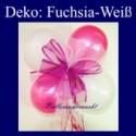 Mini-Luftballons-Dekoration mit Ringelband und Zierschleife, Weiß-Fuchsia