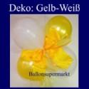 Mini-Luftballons-Dekoration mit Ringelband und Zierschleife, Weiß-Gelb