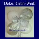 Mini-Luftballons-Dekoration mit Ringelband und Zierschleife, Weiß-Grün