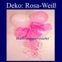 Mini-Luftballons-Dekoration mit Ringelband und Zierschleife, Weiß-Rosa