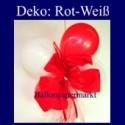 Mini-Luftballons-Dekoration mit Ringelband und Zierschleife, Weiß-Rot