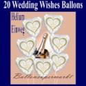 20 Luftballons aus Folie, Hochzeit, Wedding Wishes mit dem Helium-Einweg-Behälter