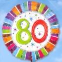 Folienballon Geburtstag 80.,Birthday Prismatic (ohne Helium)