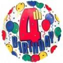4th Birthday, Luftballon aus Folie, Geburtstagsballon zum 4. (ohne Helium)