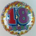 Happy Birthday Luftballon aus Folie, Prismatik-Ballon, 18. Geburtstag  (ohne Helium)