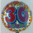 Happy Birthday Luftballon aus Folie, Prismatik-Ballon, 30. Geburtstag  (ohne Helium)