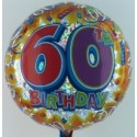Happy Birthday Luftballon aus Folie, Prismatik-Ballon, 60. Geburtstag (ohne Helium)
