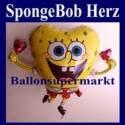 Luftballon SpongeBob, Herz-Folienballon ohne Ballongas