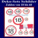 Geburtstagszahlen Schilder-Sets, Geburtstagszahlen vom 18. - 60.Geburtstag