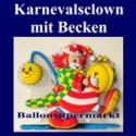 Karnevalsclown mit Becken, Wanddekoration, Bühnendekoration zu Karneval und Fasching