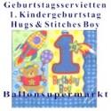 Kindergeburtstag-Servietten-Hugs and Stitches-Boy, zum 1. Geburtstag