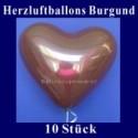 Herzluftballons Burgund 10 Stück