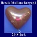 Herzluftballons Burgund 20 Stück