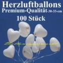 Herzluftballons Weiß 100 Stück / Heliumqualität