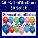 Luftballons 20 Prozent, 50 Stück