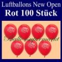 Luftballons Neueröffnung, New Open, Rot, 100 Stück
