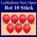 Luftballons Neueröffnung, New Open, Rot, 10 Stück