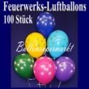 Luftballons Silvester, Motiv Feuerwerk, 100 Stück