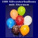 Silvester Luftballons mit Sternen, 100 Stück, Silvester-Sterne-Ballons
