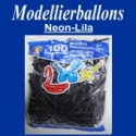 Modellierballons, Neon-Lila, 100 Stück
