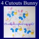 Osterdeko 4 Cutouts Bunny Osterhasen